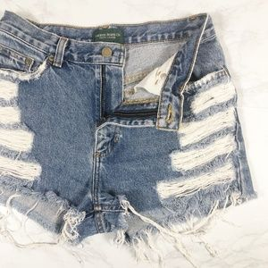 VTG Ralph Lauren Distressed High Rise Cut Offs 4